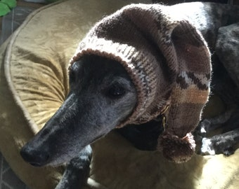Pointed Hat with Snood for Greyhound -- Alize 1913 Beige & Brown Fair Isle