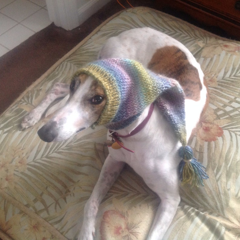 Greyhound hat with snood-watercolors ombre