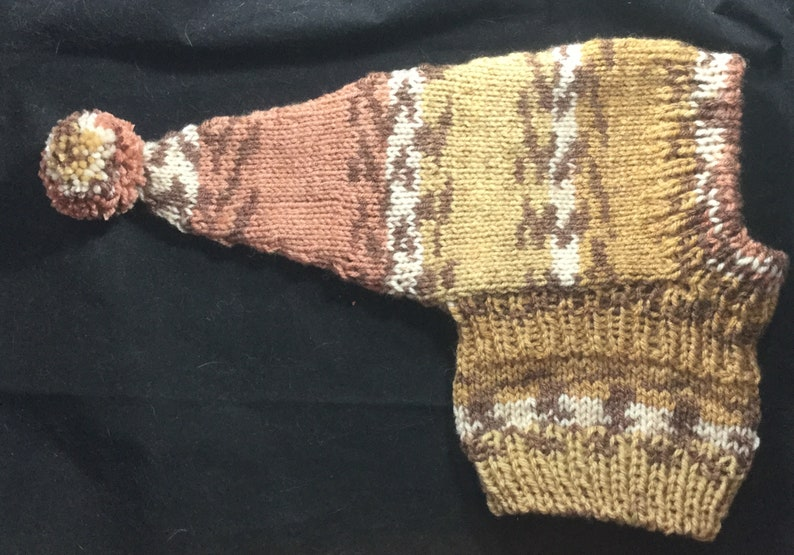 Whippet sized pointy hat with snood #131 Carmel Brown /& White