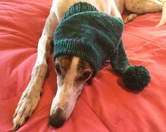 Greyhound hat with snood-7129 Oceans Print