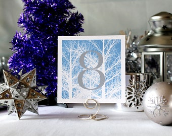 Winter Trees Wedding Table Number Romantic Blue Christmas Party  New Year's Eve