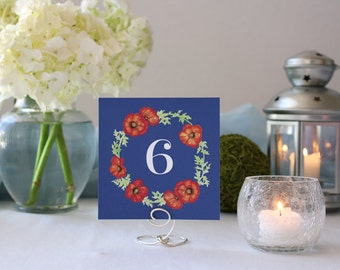 Floral Romantic Navy Pretty Table Number Square Wedding Table Marker Flowers