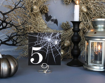 Halloween Spider Web Table Number Spooky Creepy Gothic Dark Black White Scary Fall Printable Wedding Party