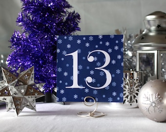 Winter Snow WeddingTable Number Romantic Navy Blue Christmas Party New Year's Eve