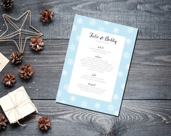 Winter Snowflake Menu Wedding Party Romantic Christmas Powder Blue New Years Eve- Large Snowflakes