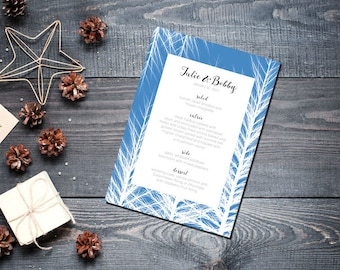 Winter Trees Ice Menu Wedding Party Romantic Christmas Blue New Years Eve