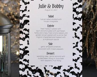 Halloween Bats Spooky Menu Creepy Gothic Dark Black White Scary Fall Wedding Party - Halloween Font