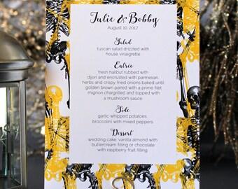 Halloween Skull Modern Menu Spooky Creepy Gothic Dark Black White Yellow Scary Fall Wedding Party Menu - Script Font
