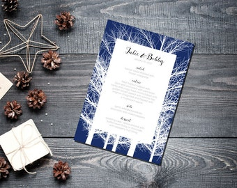 Winter Trees Menu Wedding Party Romantic Christmas Navy Blue New Years Eve