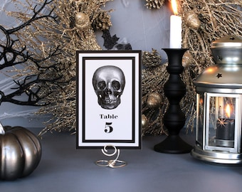 Halloween Skull Modern Table Marker Spooky Creepy Gothic Dark Black White Scary Fall Wedding Party Table Marker Number