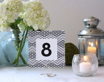 Modern Art Deco Geometric Black and White Table Marker Pattern Square Wedding Number