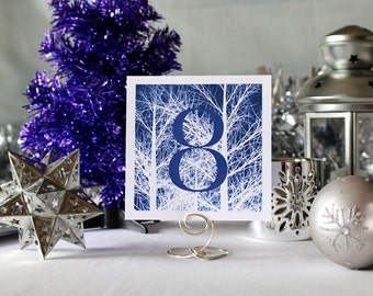 Winter Trees Wedding Table Number Romantic Navy Blue Christmas Party New Year's Eve