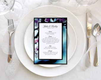 Floral Photo Wedding Menu Simple Romantic Party