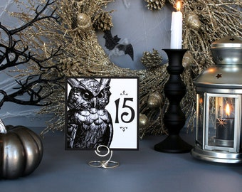Halloween Owl Spooky Table Numbers Creepy Dark Gothic Black White Scary Fall Wedding Party