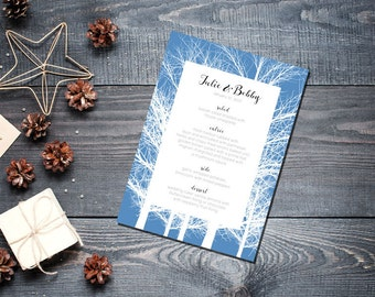 Winter Trees Menu Wedding Party Romantic Christmas Blue New Years Eve