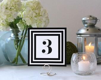 Art Deco Black and White Striped Table Number Elegant Framed Wedding Table Marker