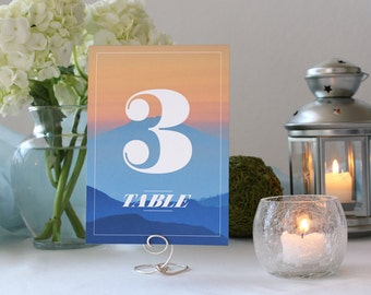 Photograph Sunset Romantic Table Number Unique Wedding Table Marker
