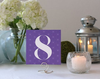 Purple Stars Pattern Table Number Pretty Square Wedding Table Marker