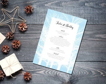 Winter Trees Menu Wedding Party Romantic Christmas Powder Blue New Years Eve
