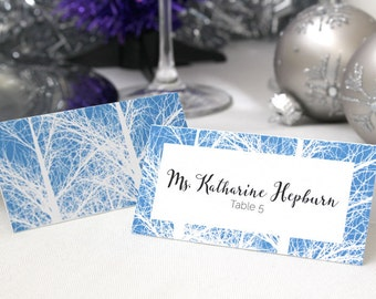 FULL SERVICE Escort Cards Wedding Party Winter Christmas New Years Snow Trees- Blue