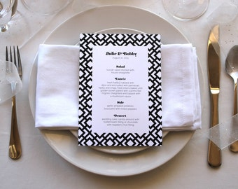 Romantic Simple Menu Modern Art Deco Black and White Unique Pretty Wedding