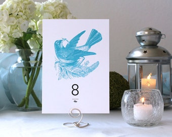 Bird Nature Romantic Wedding Table Number Flower Table Marker