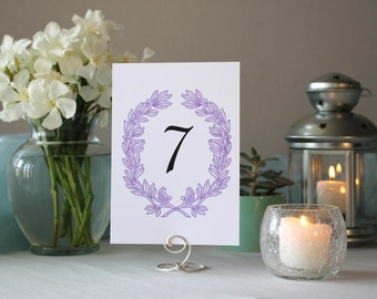 Purple Floral Vintage Table Number Wreath Wedding Table Marker