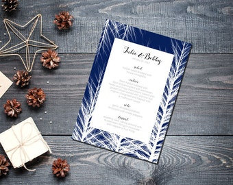 Winter Trees Ice Menu Wedding Party Romantic Christmas Navy Blue New Years Eve