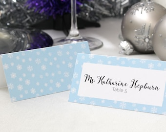 FULL SERVICE Escort Cards Wedding Party Winter Christmas New Years Snowflake Ice- Powder Blue