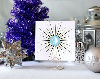 Winter Retro Star Wedding Table Number Romantic Party Christmas Snow Art Deco 1950's New Year's Eve- White
