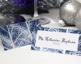 FULL SERVICE Escort Cards Wedding Party Winter Christmas New Years Snow Trees- Navy