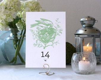 Bird Nature Romantic Table Number Pretty Flower Wedding Party Marker