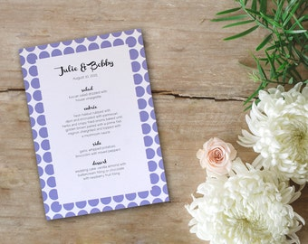 Fun Baby Shower Wedding Menu Simple Purple Polkadots Party Pretty Retro