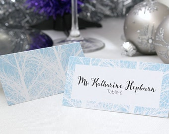 FULL SERVICE Escort Cards Wedding Party Winter Christmas New Years Snow Trees - Powder Blue