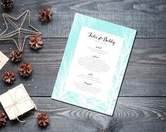 Winter Trees Ice Menu Wedding Party Romantic Christmas Mint Blue New Years Eve