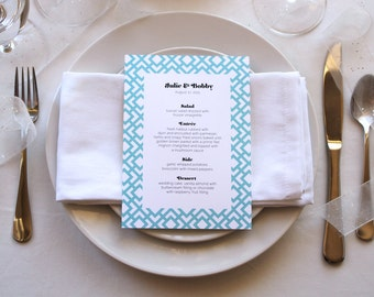 Romantic Simple Art Deco Modern Pattern Unique Pretty Wedding Menu