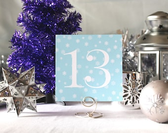 Winter Snow Wedding Table Number Romantic Mint Party Christmas New Year's Eve