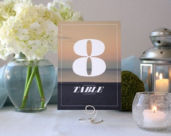 Photograph Beautiful Sunset Table Numbers Beach Nature Romantic Wedding Table Marker