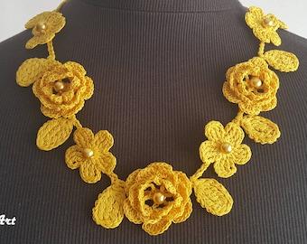 Crochet Rose Necklace,Crochet Neck Accessory, Flower Necklace, Yellow, 100% Cotton.