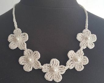 Crochet Necklace,Crochet Neck Accessory,Ivory, 100% Cotton.