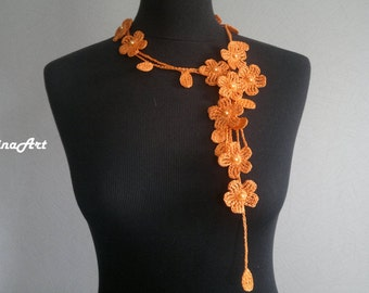 Crochet Necklace,Crochet Neck Accessory, Flower Necklace, Orange, 100% Cotton.
