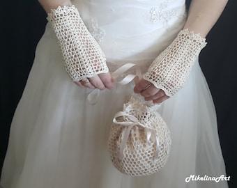 Crochet Mittens, Fingerless Gloves, Ivory, 100% Mercerized Cotton.