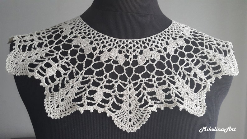 Handmade Crochet Collar Neck Accessory Ivory 100% Cotton image 0