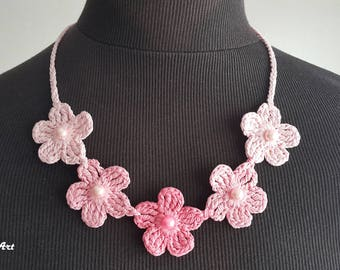 Crochet Necklace,Crochet Neck Accessory, Three Shades of Pink, 100% Cotton.
