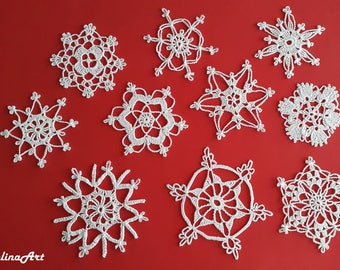10 Crochet Snowflakes,Christmas Decorations,Christmas Appliques,White, 100% Cotton.