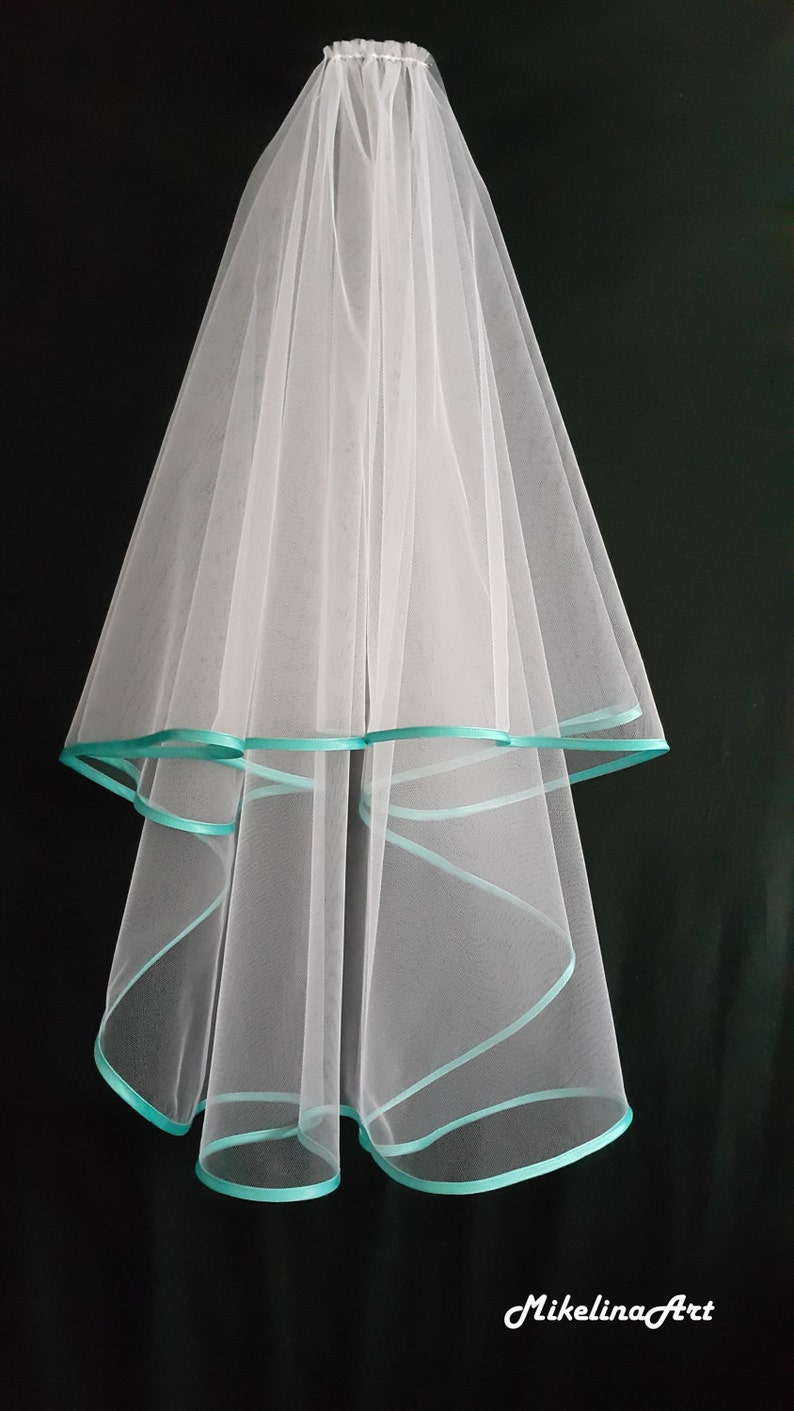 White Wedding Veil Two Layers Turquoise Satin Edging. image 0