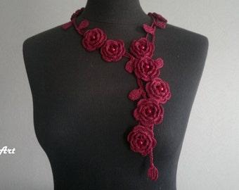 Crochet Rose Necklace,Crochet Neck Accessory, Flower Necklace, Wine Colour, 100% Cotton.