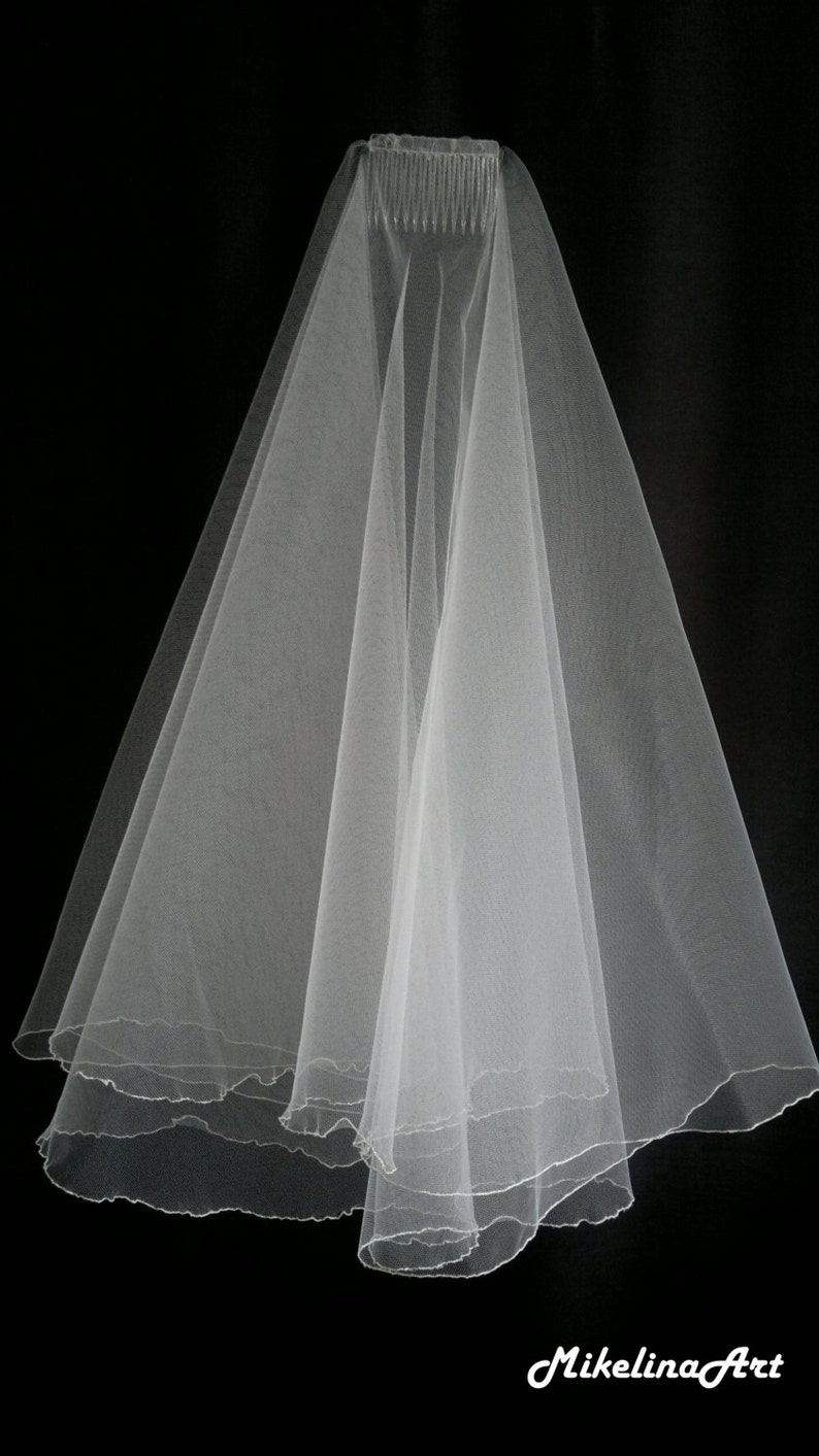 Ivory Wedding Veil Two Layers image 0