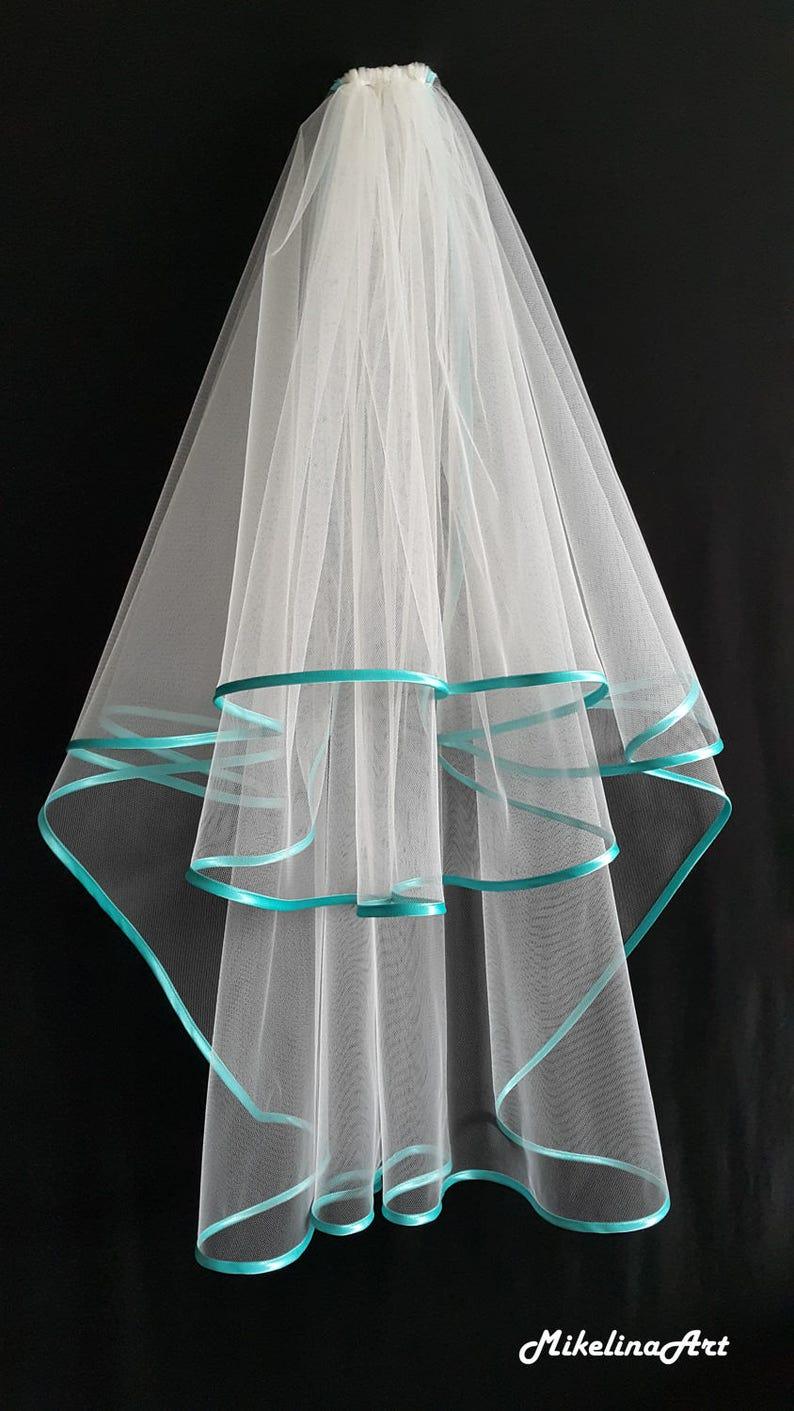 Ivory Wedding Veil Three Layers Turquoise Satin Edging. image 0