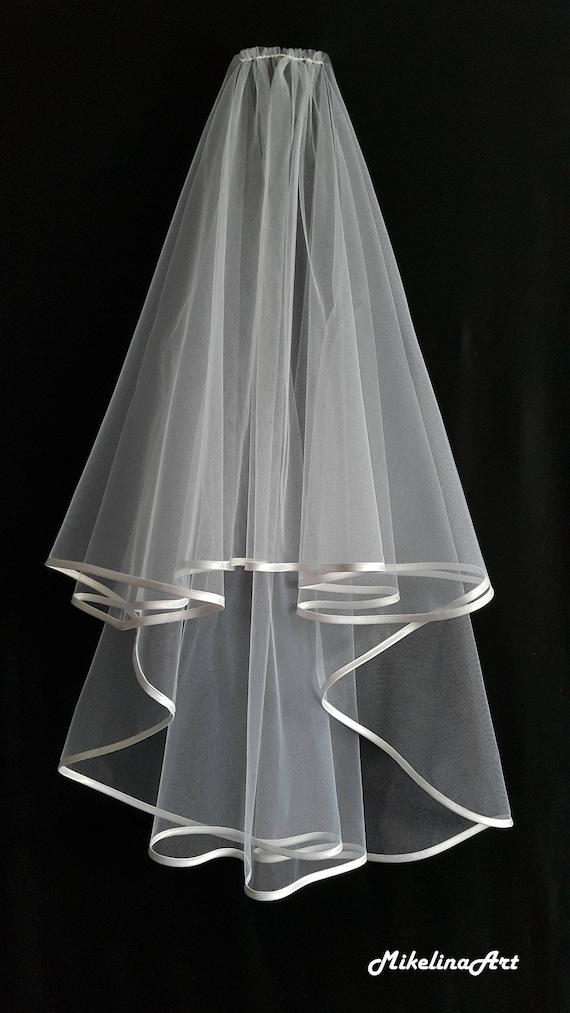 Two Layers White Wedding Veil Pink Satin Edging.